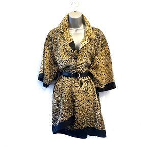 Vintage Leopard Print Shirt Dress Casual Boho XL